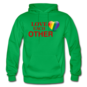 Love Each Other Adult Hoodie - kelly green
