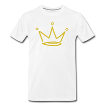 Load image into Gallery viewer, Gold Glitter Crown Premium T-Shirt - white