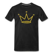 Load image into Gallery viewer, Gold Glitter Crown Premium T-Shirt - black