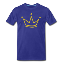 Load image into Gallery viewer, Gold Glitter Crown Premium T-Shirt - royal blue