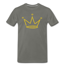 Load image into Gallery viewer, Gold Glitter Crown Premium T-Shirt - asphalt gray