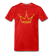 Load image into Gallery viewer, Gold Glitter Crown Premium T-Shirt - red
