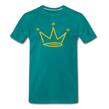 Load image into Gallery viewer, Gold Glitter Crown Premium T-Shirt - teal