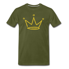 Load image into Gallery viewer, Gold Glitter Crown Premium T-Shirt - olive green