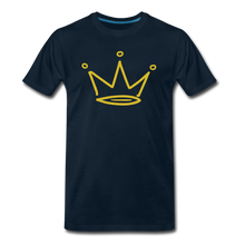Load image into Gallery viewer, Gold Glitter Crown Premium T-Shirt - deep navy
