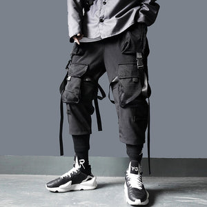 Cargo Pants Tactical Pants Ribbon Multi-pocket Elastic Waist DG29