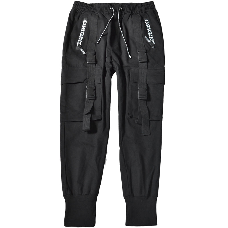 Black Ribbon Straps Joggers