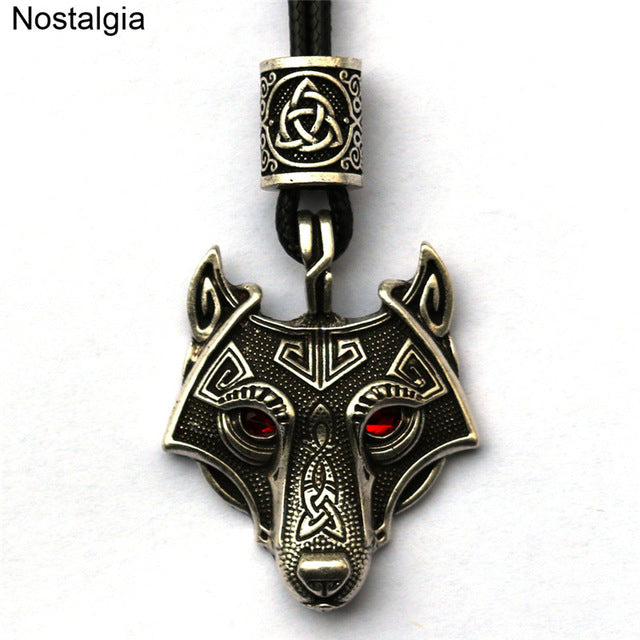 Red Crystal Wolf Head Necklace