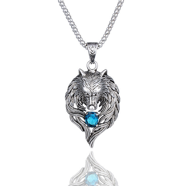 Wolf Head Blue Crystal Necklace