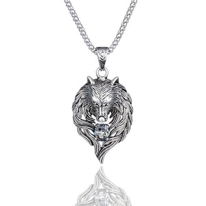 Wolf Head Necklace Silv.