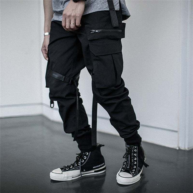 Streetwear Joggers Ribbon Pockets Black