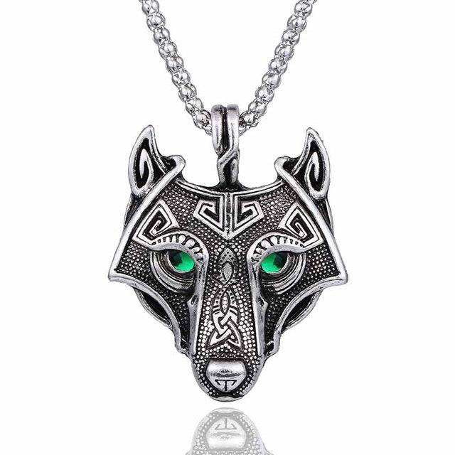 Green Crystal Wolf Head Necklace