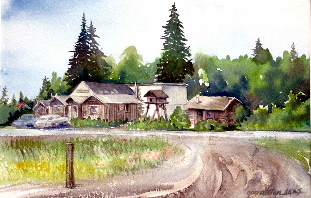 """Before They Paved the Road"" - Homer, Alaska, Original Watercolor"