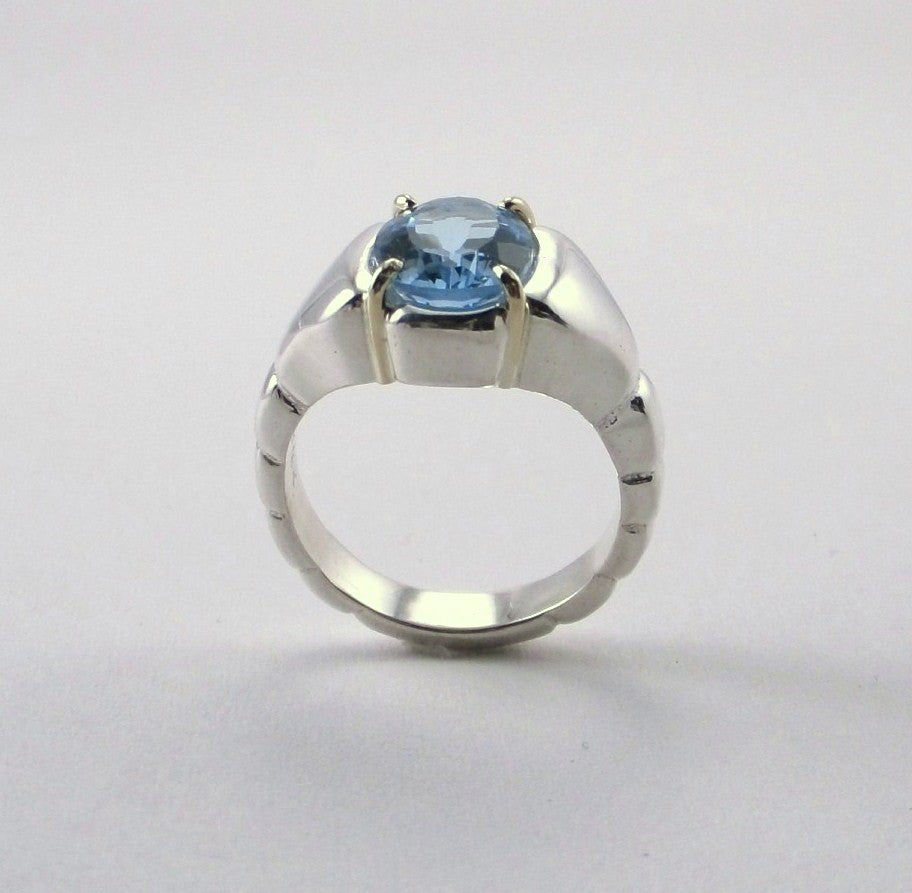 Blue Topaz Ring in Sterling Featuring 18K Gold Accents