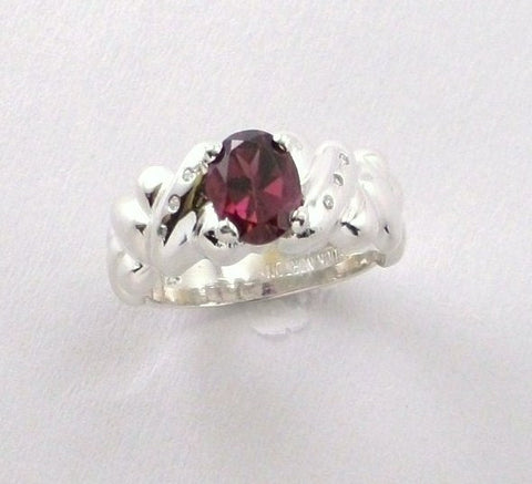 Grape Oval Rhodolite and Diamond Ring