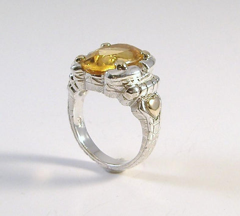 18K and Sterling Silver Madeira Citrine Ring