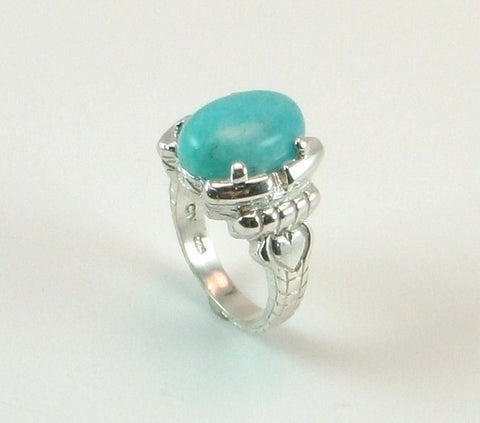 Cabachon Sky Blue Amazonite ring