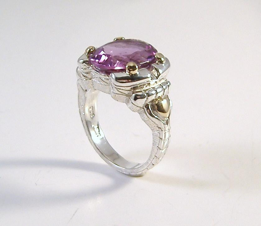 Sterling and 18K Gold Oval Amethyst Ring