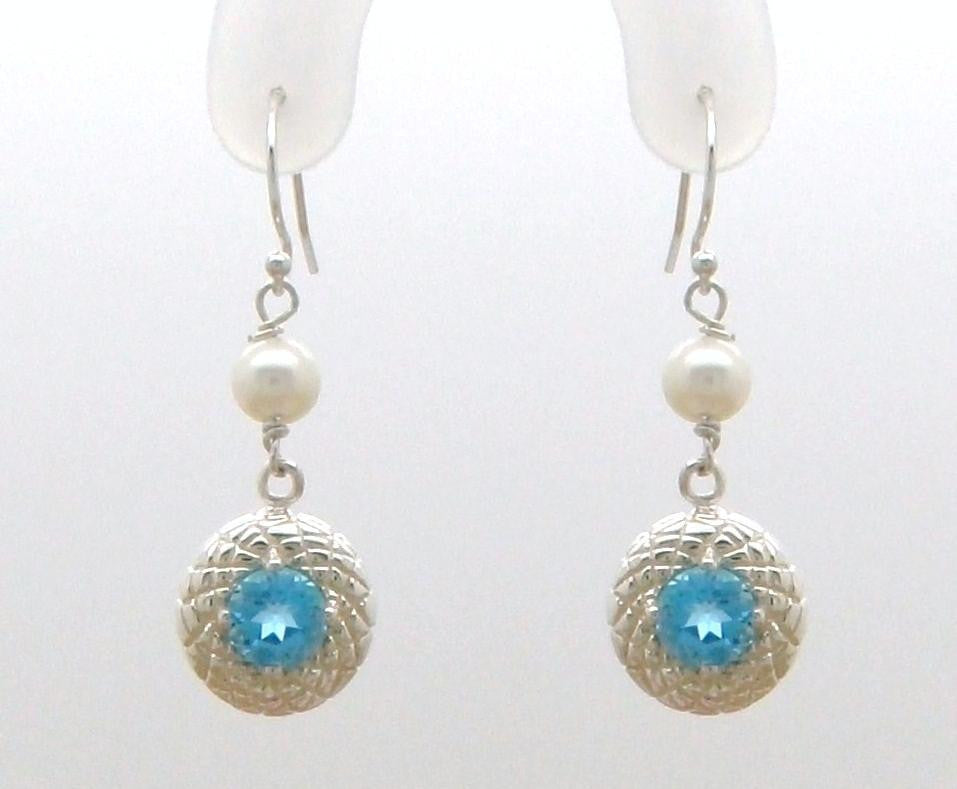 Chrysanthemum Dangle Earring with Gemstone and Pearl