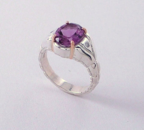 Pansy Violet Amethyst and Diamond Ring in Sterling Silver and Rose Gold