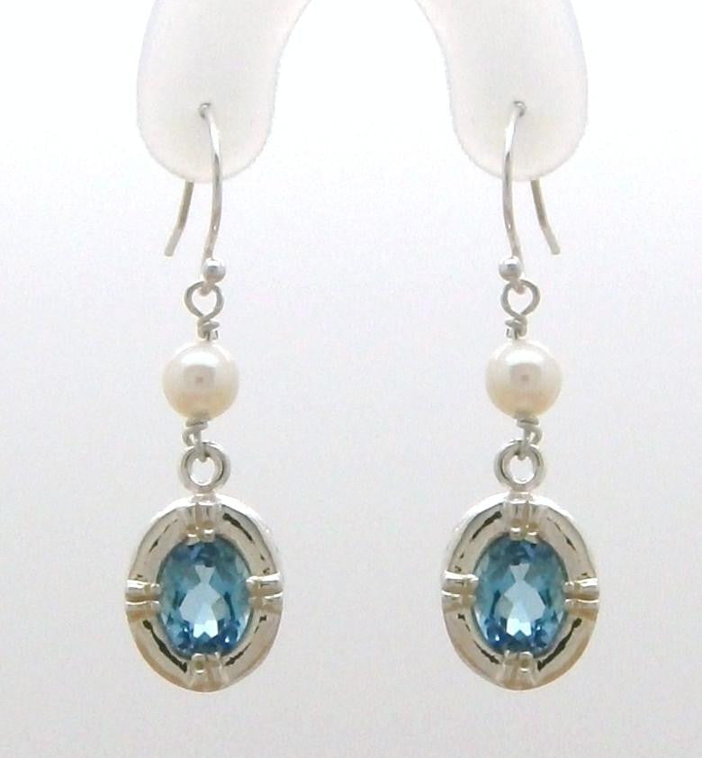 Victorian Dangle Earring with Gemstone and Pearl