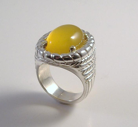 Lemon Drop Chalcedony in Sterling and 18k Ring