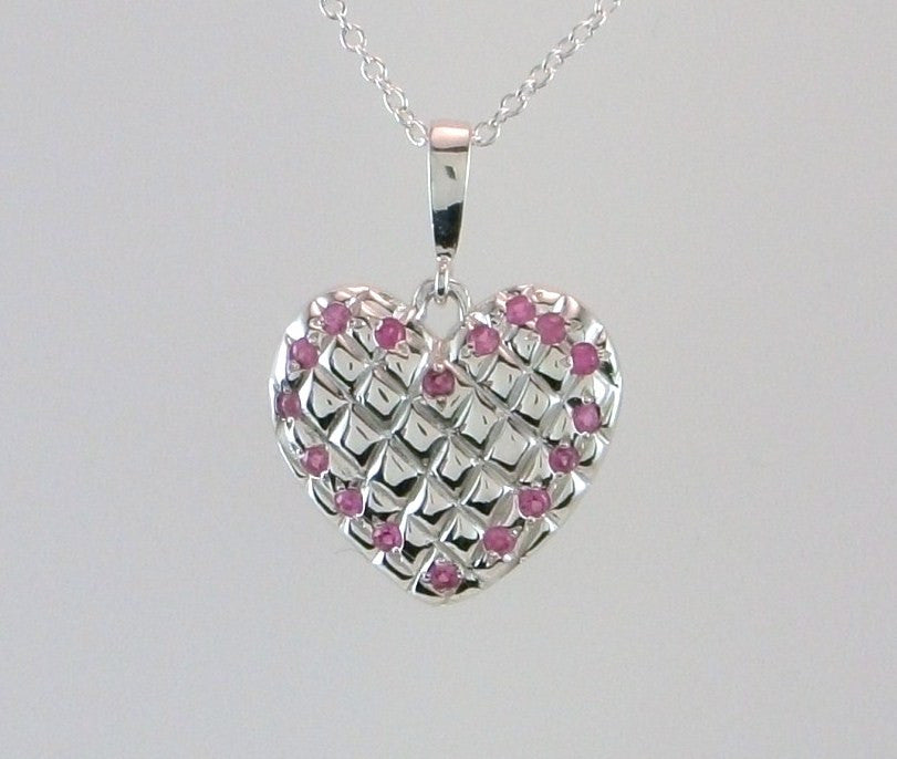 Puffy Pink Sapphire Quilted Heart