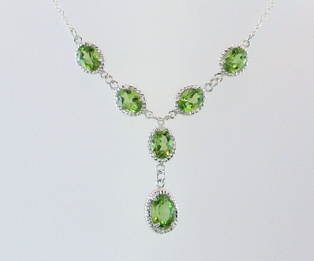 Luxurious Parrot Green Peridot Y necklace