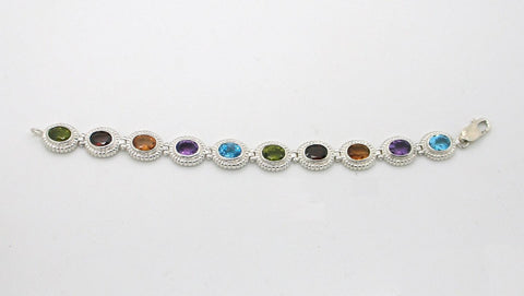 Bright Gemstone Link Bracelet