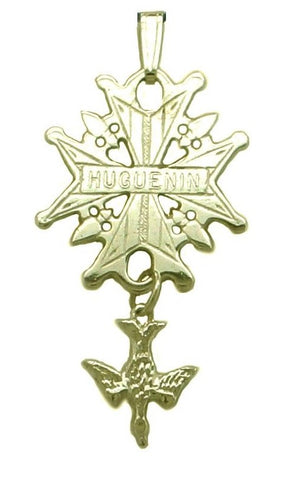 Gold Huguenot Cross Engraved with Your Family Name