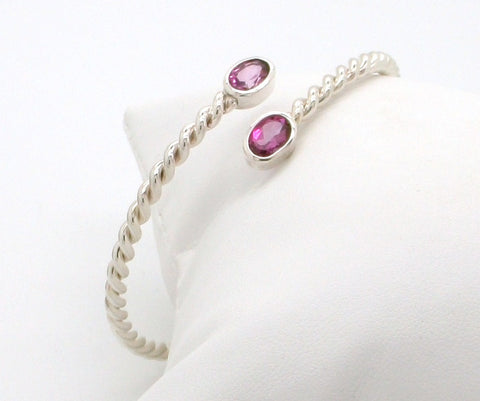 "Hot Pink Topaz ""Entwined"" Cuff Bracelet"