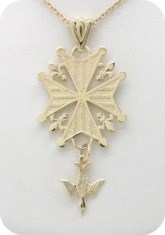 Legacy Huguenot Cross Necklace in 14K Gold
