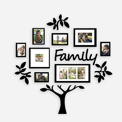 8 photo frame happy tree creative combination resin living room wall decoration ( Color : Black )