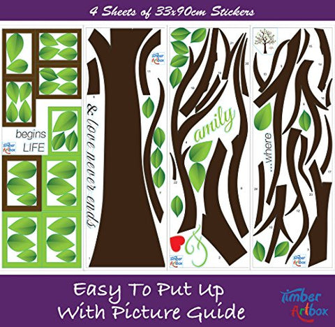 Timber Artbox Large Family Tree Photo Frames Wall Decal The - How to put up a tree wall decal