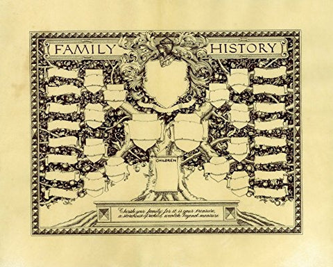 Family Tree with Family Crest Coat of Arms Fine Art Print Reproduction