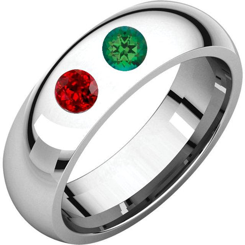 2 Sterling Silver Emerald and Ruby Wedding Bands