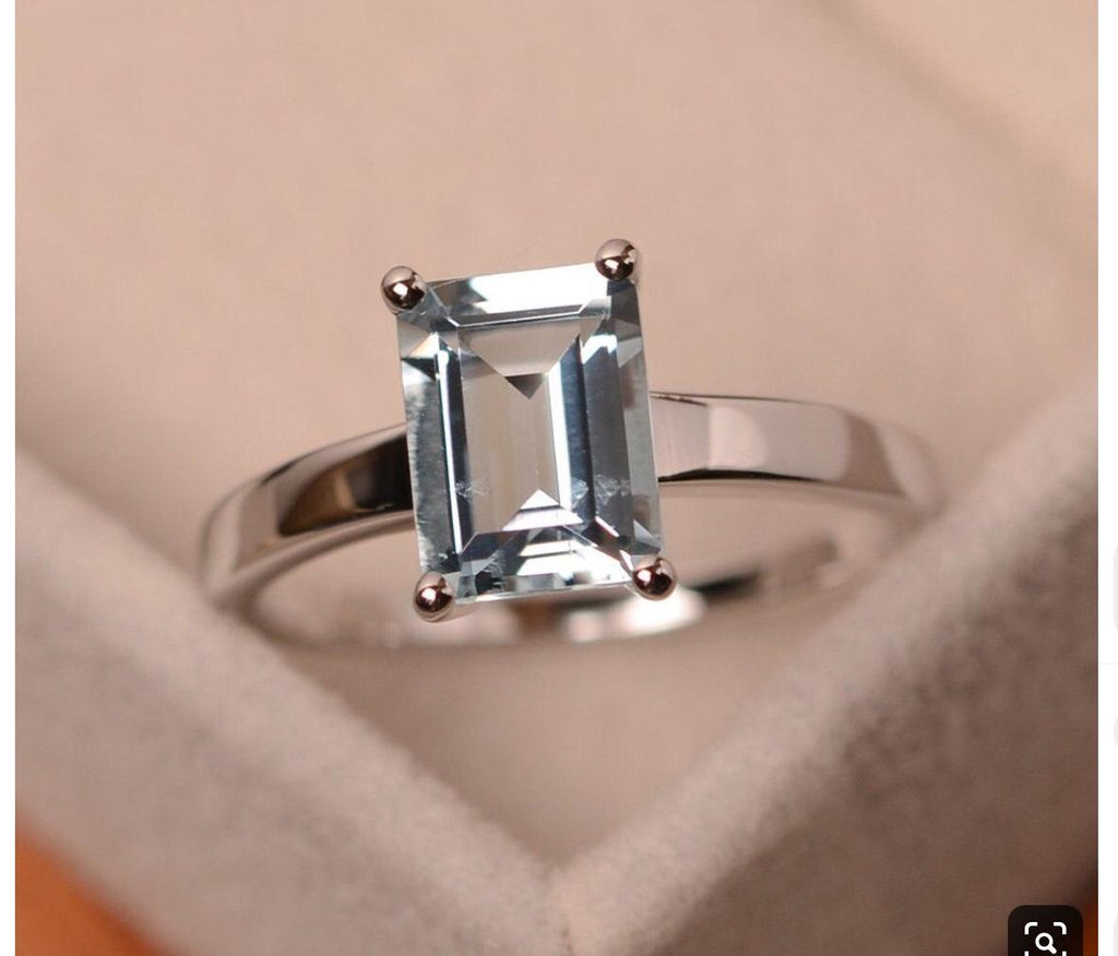 Emerald Cut Aquamarine Ring in 14K White Gold