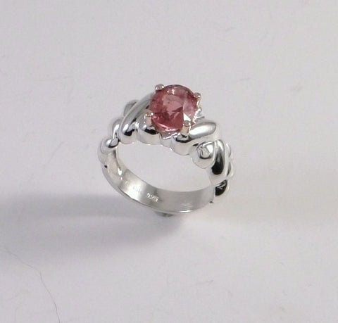 Raspberry Spinel in Sterling Ring. SOLD!