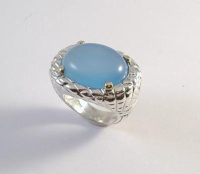 Sterling and 18K Quilted Cabochon Ring