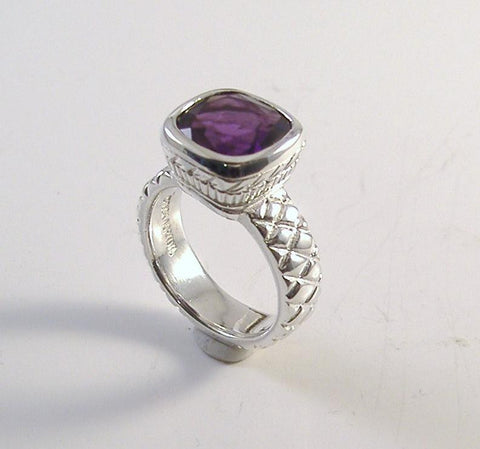 "Bezel set Cushion cut Gemstone ""Dynasty""Ring"