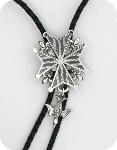 Mens Huguenot Cross Bolo Necklace