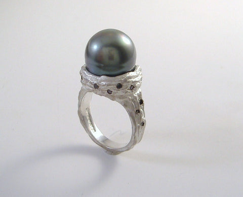 Tahitian Pearl and Black Diamonds in Sterling Ring