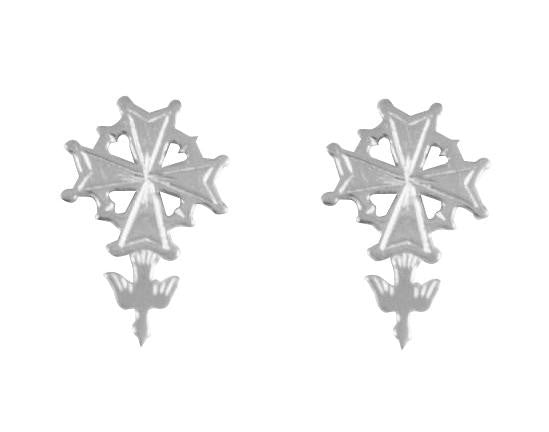 Silver Huguenot Cross Post Earrings