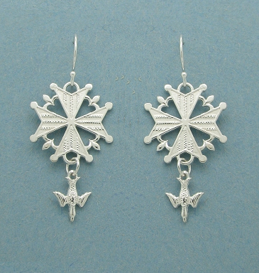 Heritage Huguenot Cross Earrings