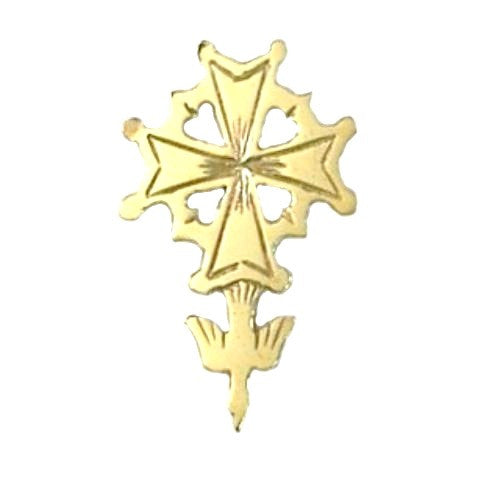 14K Gold Huguenot Cross Tie Tack/Lapel pin