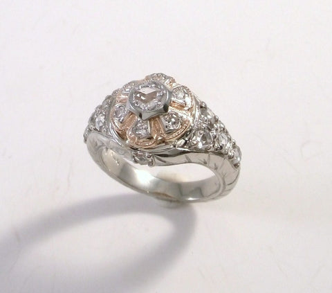 White gold ring with rose cut diamonds