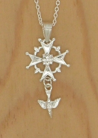 "Silver ""Huguenot Rose"" Cross"