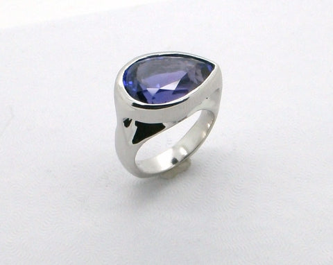 Platinum ring with Bezel set pear shape Tanzanite