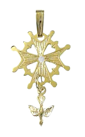 Small Gold Huguenot Cross with Diamond