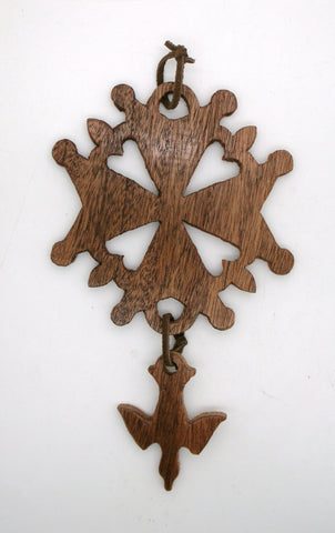 Mahogany Huguenot Cross Wall Hanging